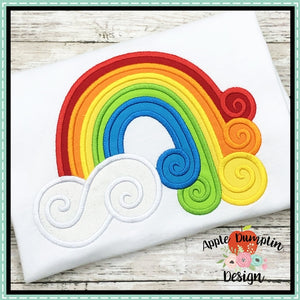 Swirl Rainbow Satin Stitch Applique Design, applique