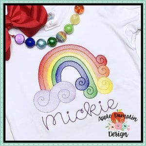 Swirl Rainbow Sketch Embroidery Design, applique