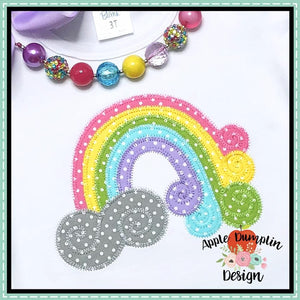 Swirl Rainbow Zigzag Applique Design, applique