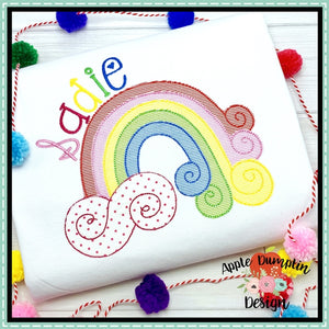 Swirl Rainbow Bean Stitch Applique Design