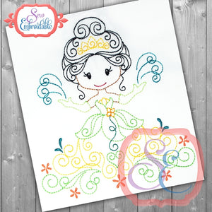 Swirly Princess 10 Embroidery Design
