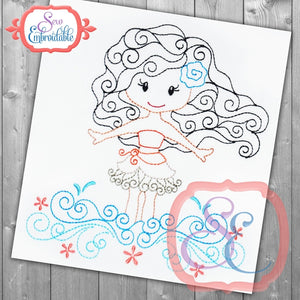 Swirly Princess 11 Embroidery Design, Embroidery