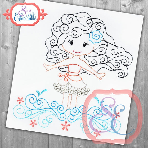 Swirly Princess 11 Embroidery Design - embroidery-boutique