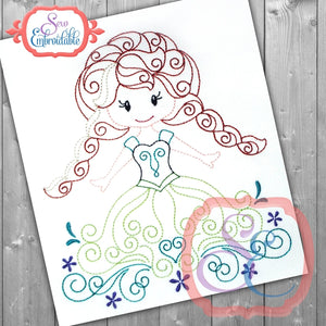 Swirly Princess 7 Embroidery Design, Embroidery
