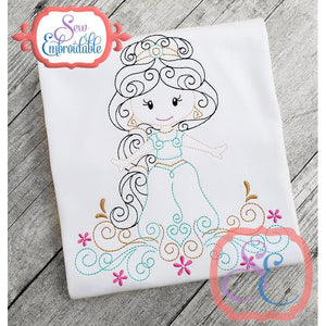 Swirly Princess 8 Embroidery Design
