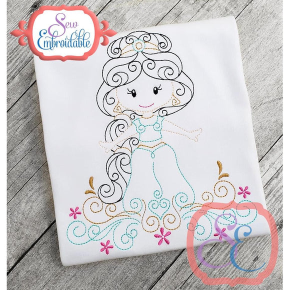 Swirly Princess 8 Embroidery Design - embroidery-boutique