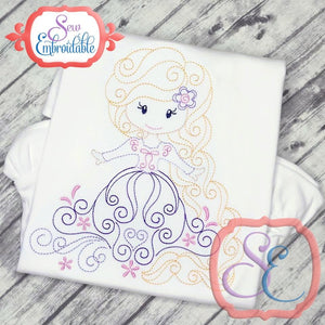 Swirly Princess 9 Embroidery Design