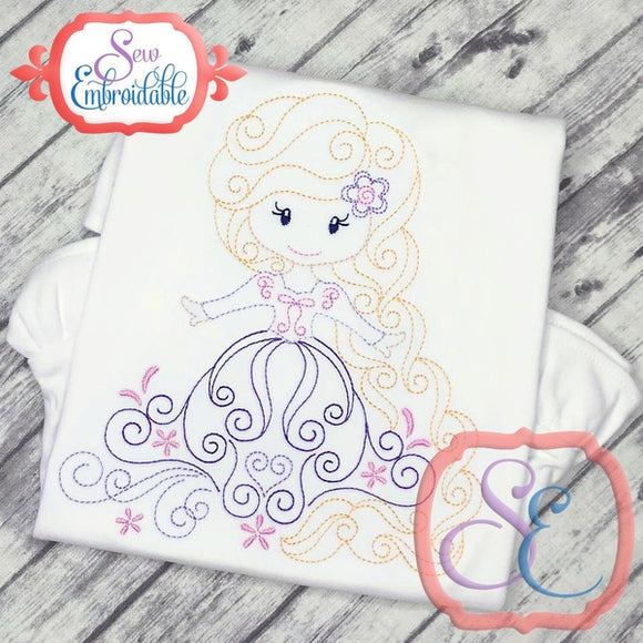 Swirly Princess 9 Embroidery Design - embroidery-boutique