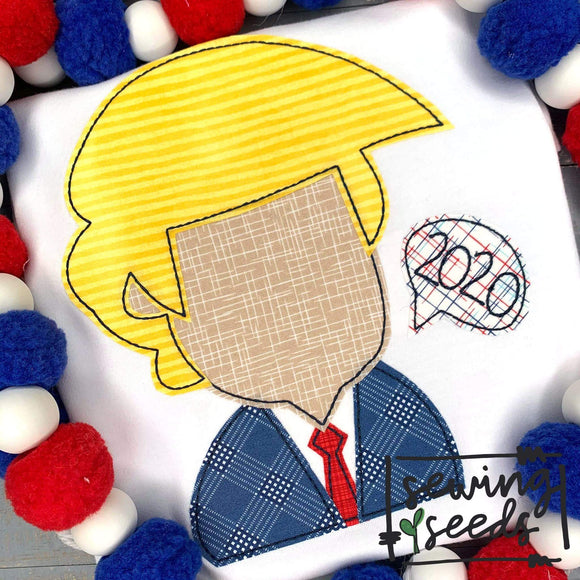Trump 2020 Applique SS - Sewing Seeds