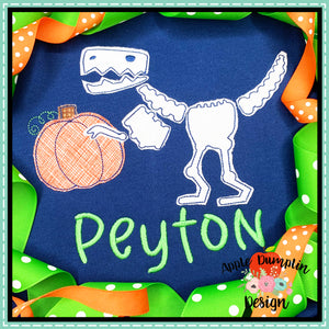 T-Rex Skeleton Pumpkin Bean Stitch Applique Design, Applique