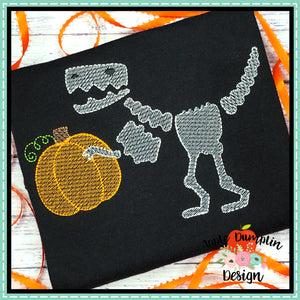 T-Rex Skeleton Pumpkin Sketch Embroidery Design
