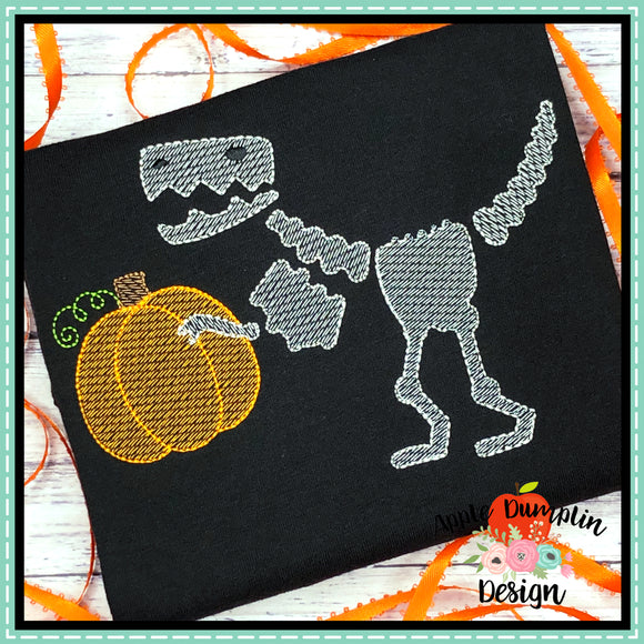 T-Rex Skeleton Pumpkin Sketch Embroidery Design, Embroidery