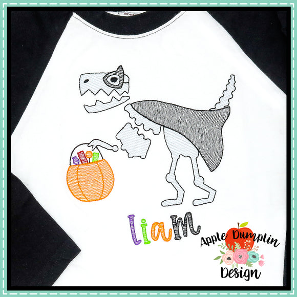 Halloween T-Rex Sketch Embroidery Design
