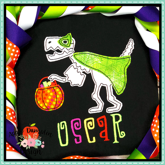 Halloween T-Rex Bean Stitch Applique Design