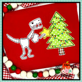 T-Rex with Christmas Tree Bean Stitch Applique Design, Embroidery