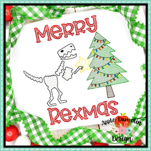 T-Rex with Christmas Tree Sketch Embroidery  Design, Embroidery