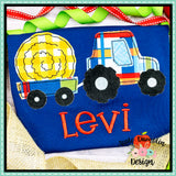 Tractor Hay Bale Bean Stitch Applique Design, applique