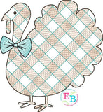 Turkey Bow Tie Plaid Sketch Embroidery Design, Embroidery