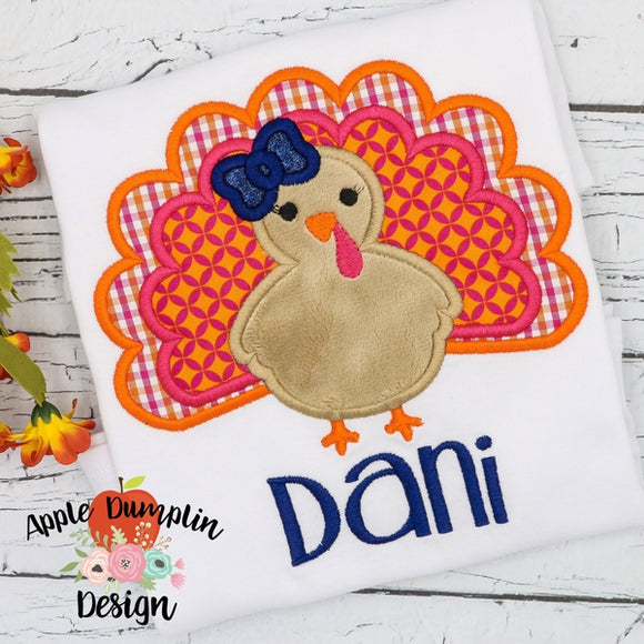 Turkey with Bow Applique Design - embroidery-boutique