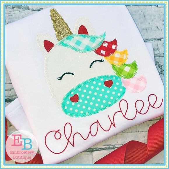 Unicorn Face ZigZag Applique - embroidery-boutique