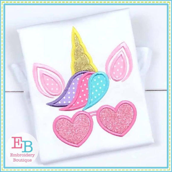 Unicorn Heart Glasses Applique