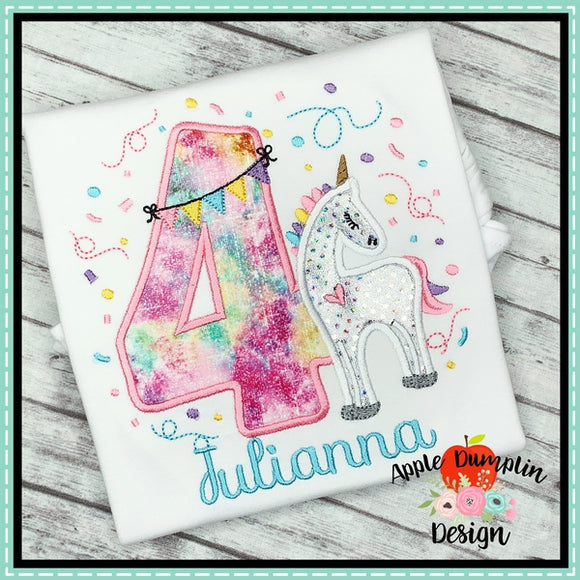 Unicorn Number Applique Set