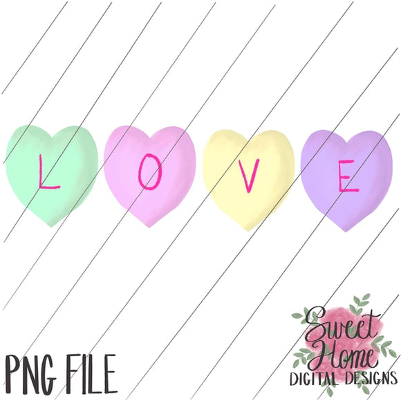 LOVE Conversation Heart Valentine Design PNG Printable, Printable