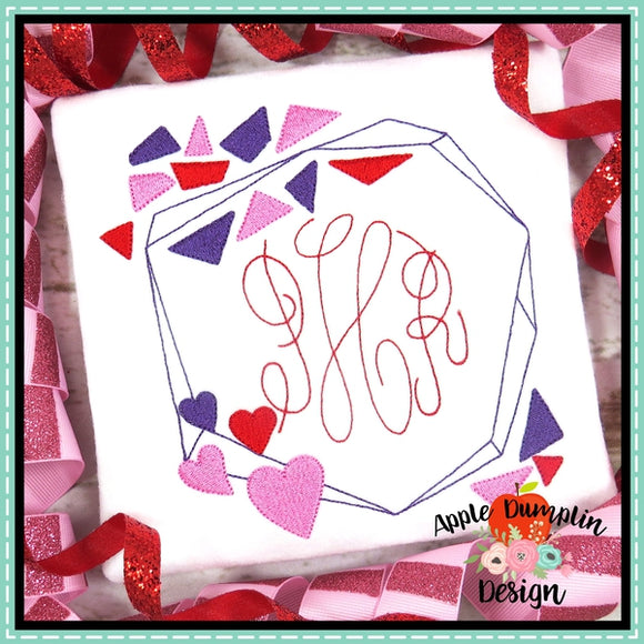 Valentine Geo Frame Embroidery Design, applique