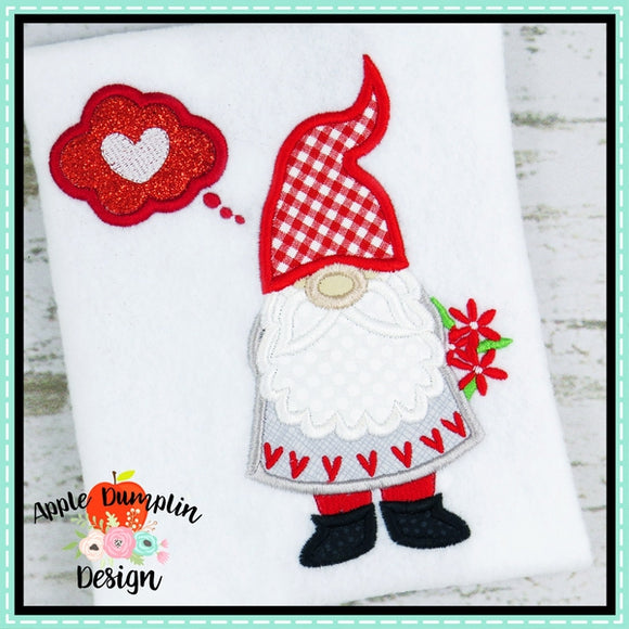 Valentine Gnome Applique Design