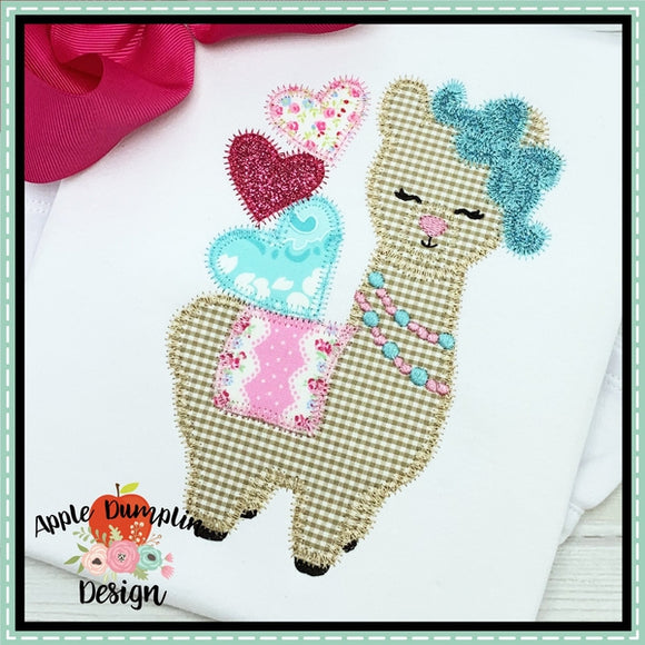 Valentine Llama Zigzag Applique Design, applique