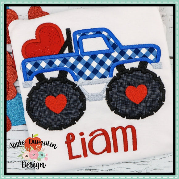 Monster Truck with Heart Applique Design - embroidery-boutique