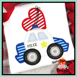 Valentine Police Car Applique Design, applique