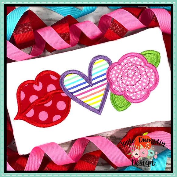 Valentine Trio Satin Applique Design