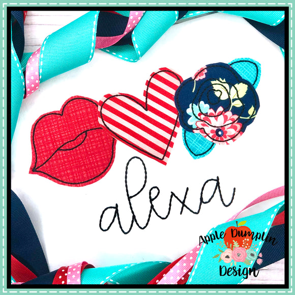 Valentine Trio Bean Stitch Applique Design, applique