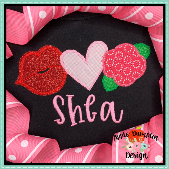 Valentine Trio Zigzag Applique Design