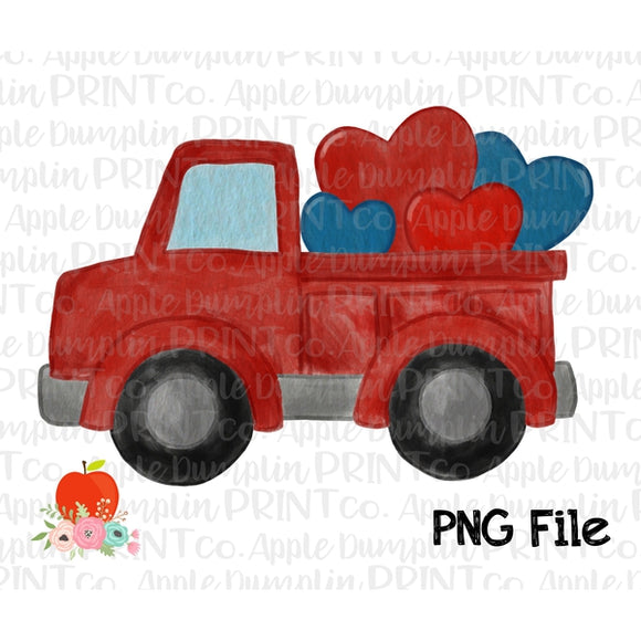 Truck with Hearts Watercolor Printable Design PNG