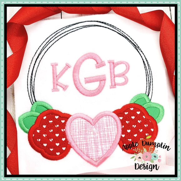 Valentine Wreath Satin Stitch Applique Design, applique