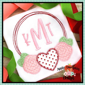 Valentine Wreath Zigzag Stitch Applique Design, applique