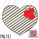 Vintage Black Striped Heart with Red Flowers Valentine Design PNG Printable, Printable