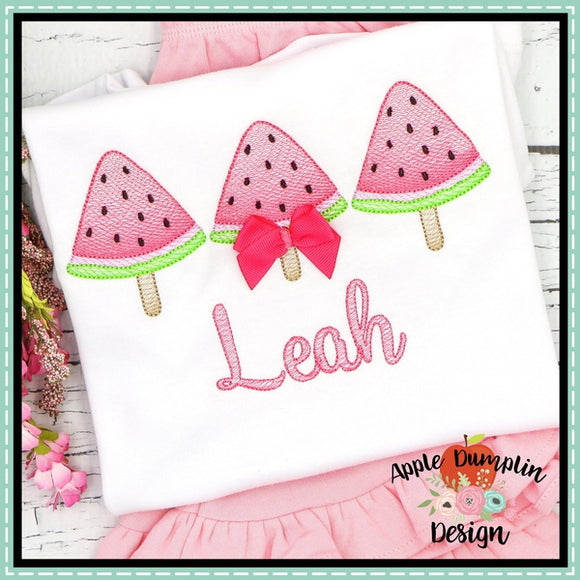 Watermelon Popsicle Trio Sketch Embroidery Design