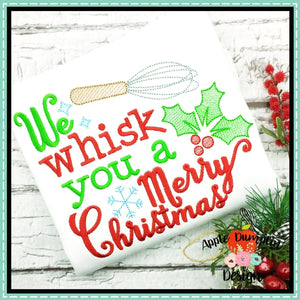 We Whisk You a Merry Christmas Sketch Embroidery Design, applique