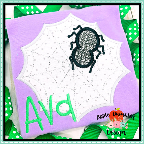 Web and Spider Satin Applique Design, applique