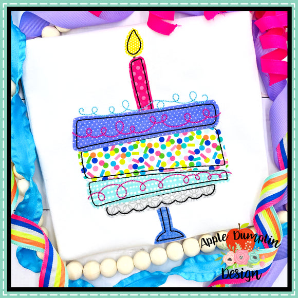 Whimsy Cake 2 Bean Stitch Applique Design