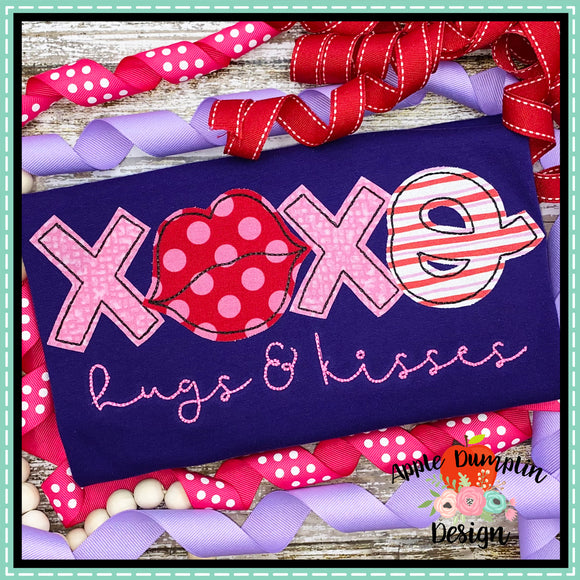 XOXO Hugs and Kisses Bean Stitch Applique Design