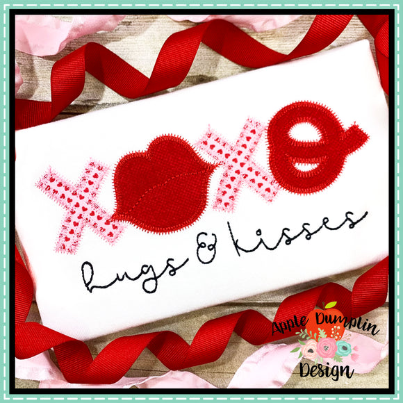 XOXO Hugs and Kisses Zigzag Applique Design, applique
