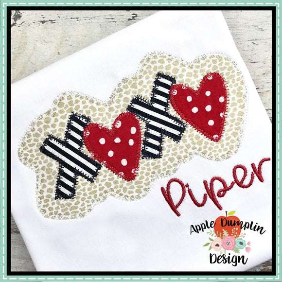 XOXO Zigzag Applique Design