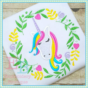 Unicorn Wreath Applique, Applique