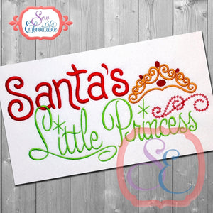 Santa's Little Princess Embroidery Design, Embroidery