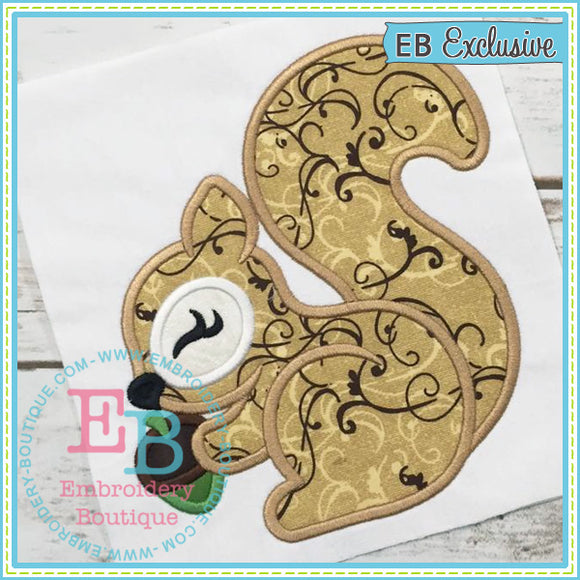 Woodland Squirrel Applique, Applique