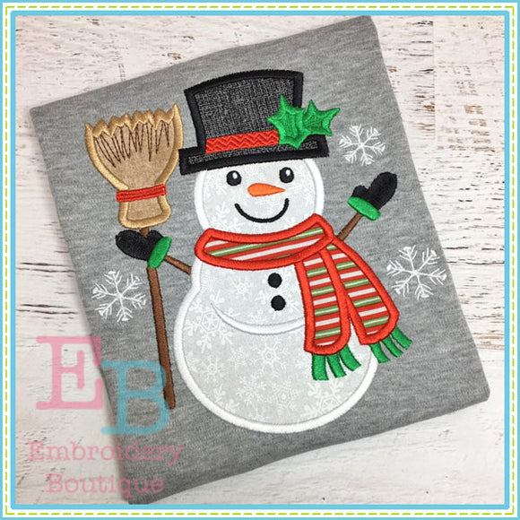 Snowman Broom Applique, Applique